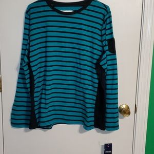 New Chaps Sport 3X teal and Navy striped T-shirt